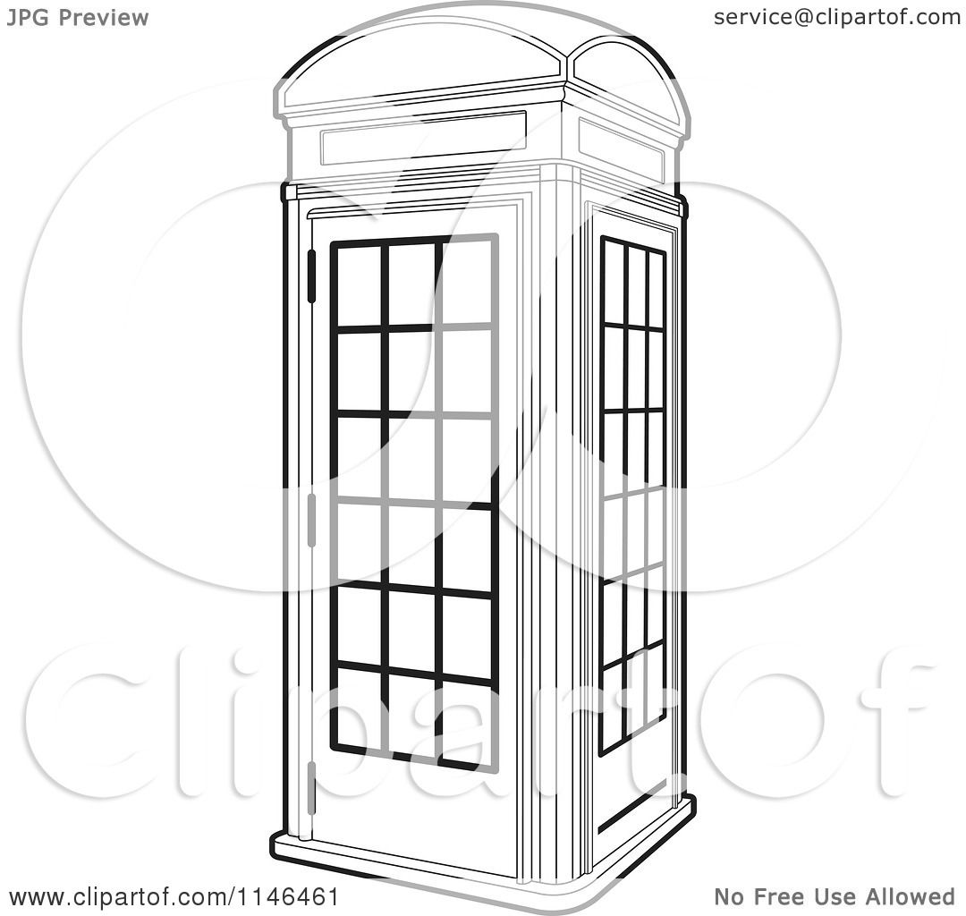 Clipart Of An Outlined Telephone Booth Royalty Free