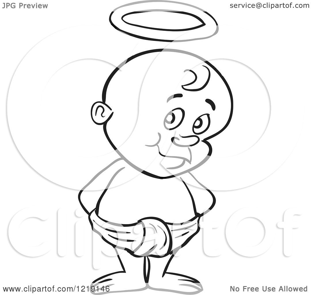 clipart of an outlined toddler boy with devil horns