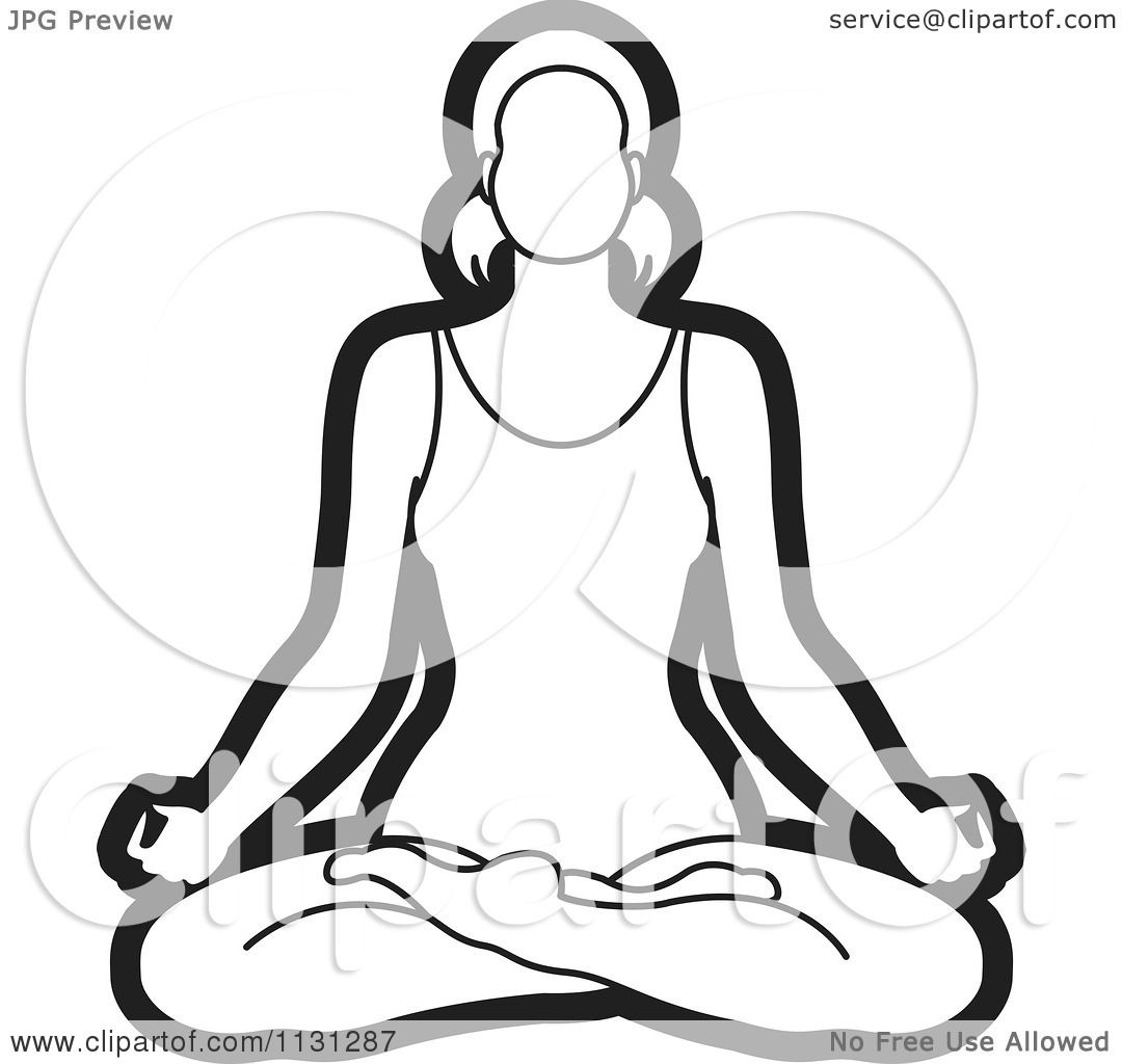Clipart Of An Outlined Yoga Woman Meditating Royalty Free Vector Illustration By Lal Perera 1131287