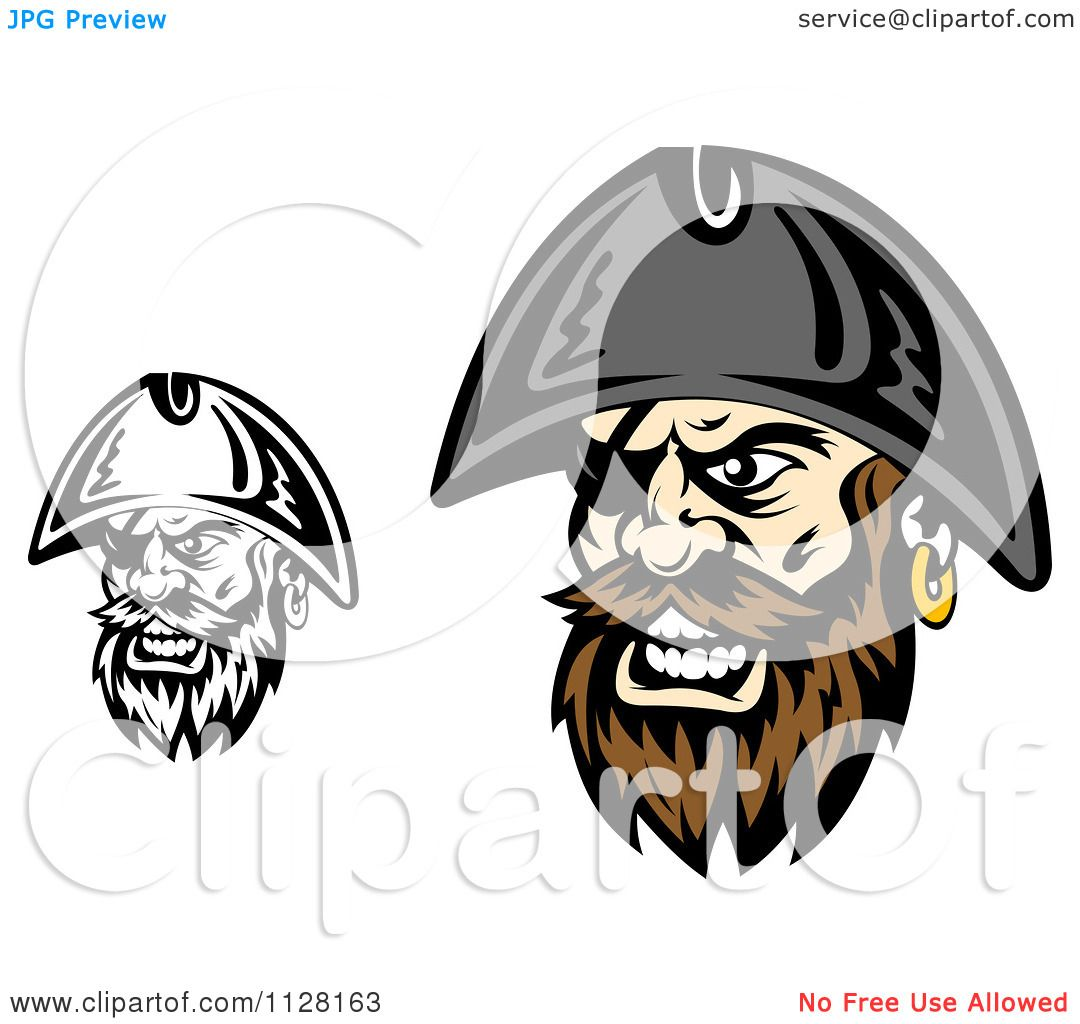 Uncategorized Pirate Faces clipart of angry pirate faces with eye patches 2 royalty free vector illustration by tradition sm