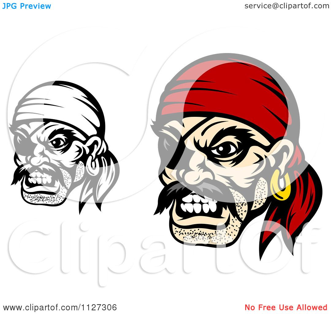 Uncategorized Pirate Faces clipart of angry pirate faces with eye patches and bandanas royalty free vector illustration by tradition sm