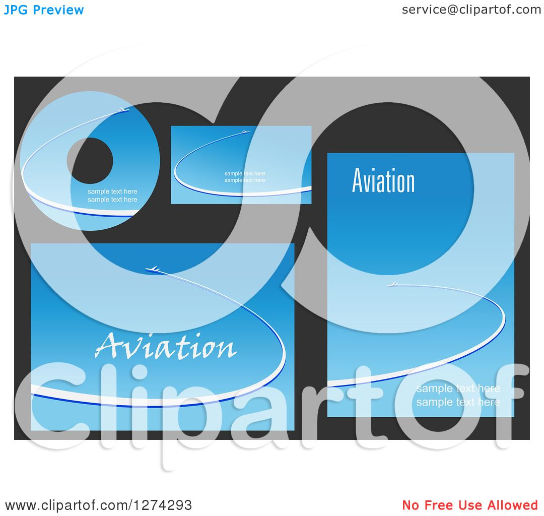 Clipart of Aviation Template Designs with Jets in Blue Skies and ...