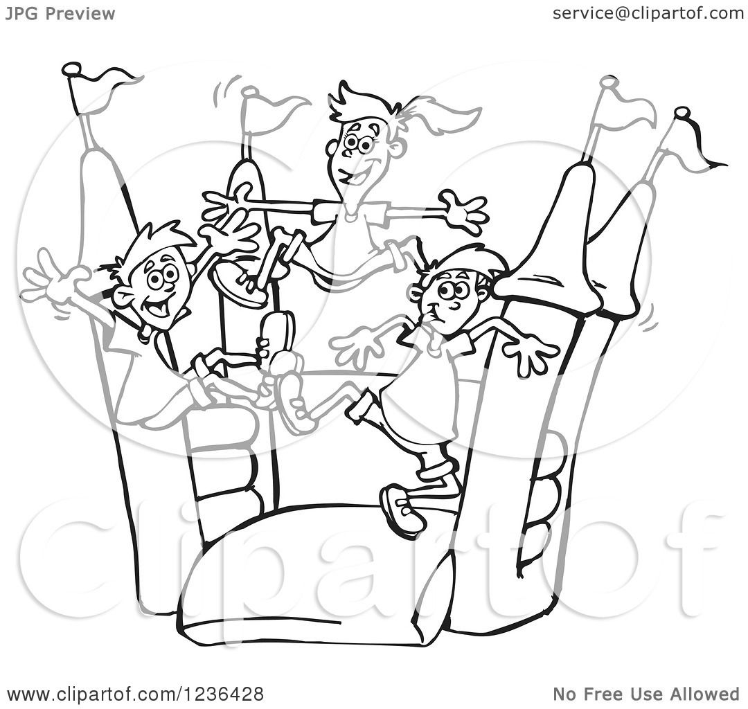 Clipart of B acl and White Children Jumping on a Colorful