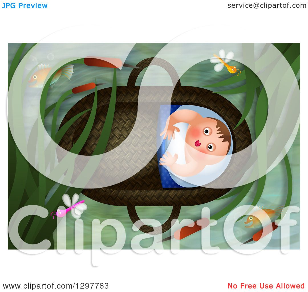 Clipart Of Baby Moses Floating In A Basket Royalty Free