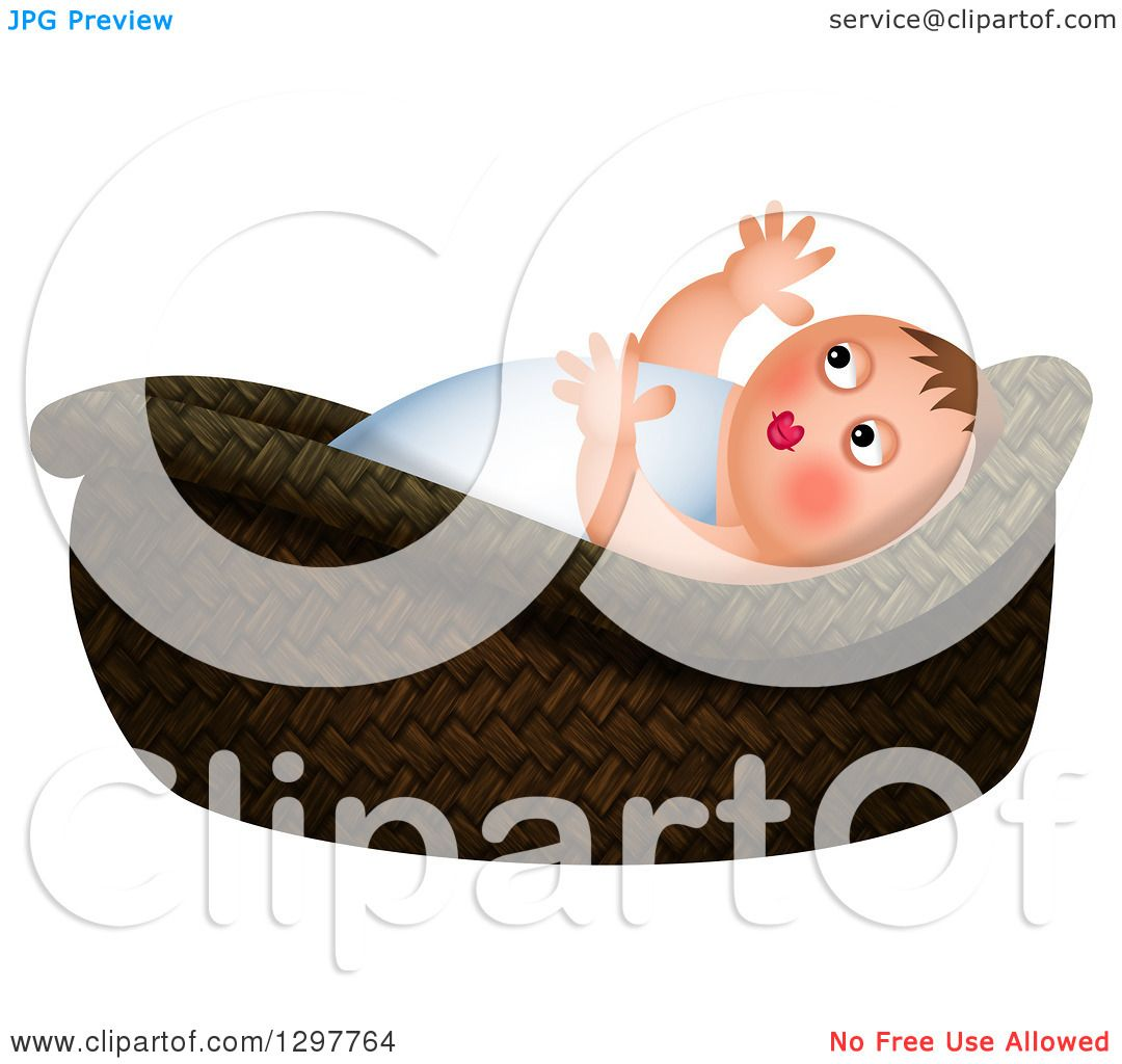 Clipart of Baby Moses in a Basket over White Royalty