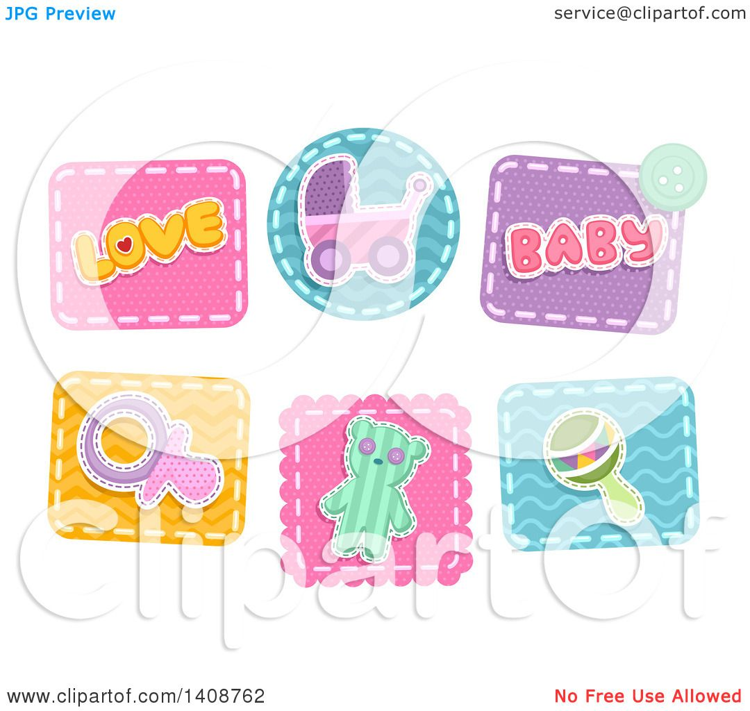 Clipart of Baby Themed Patches - Royalty Free Vector Illustration ...