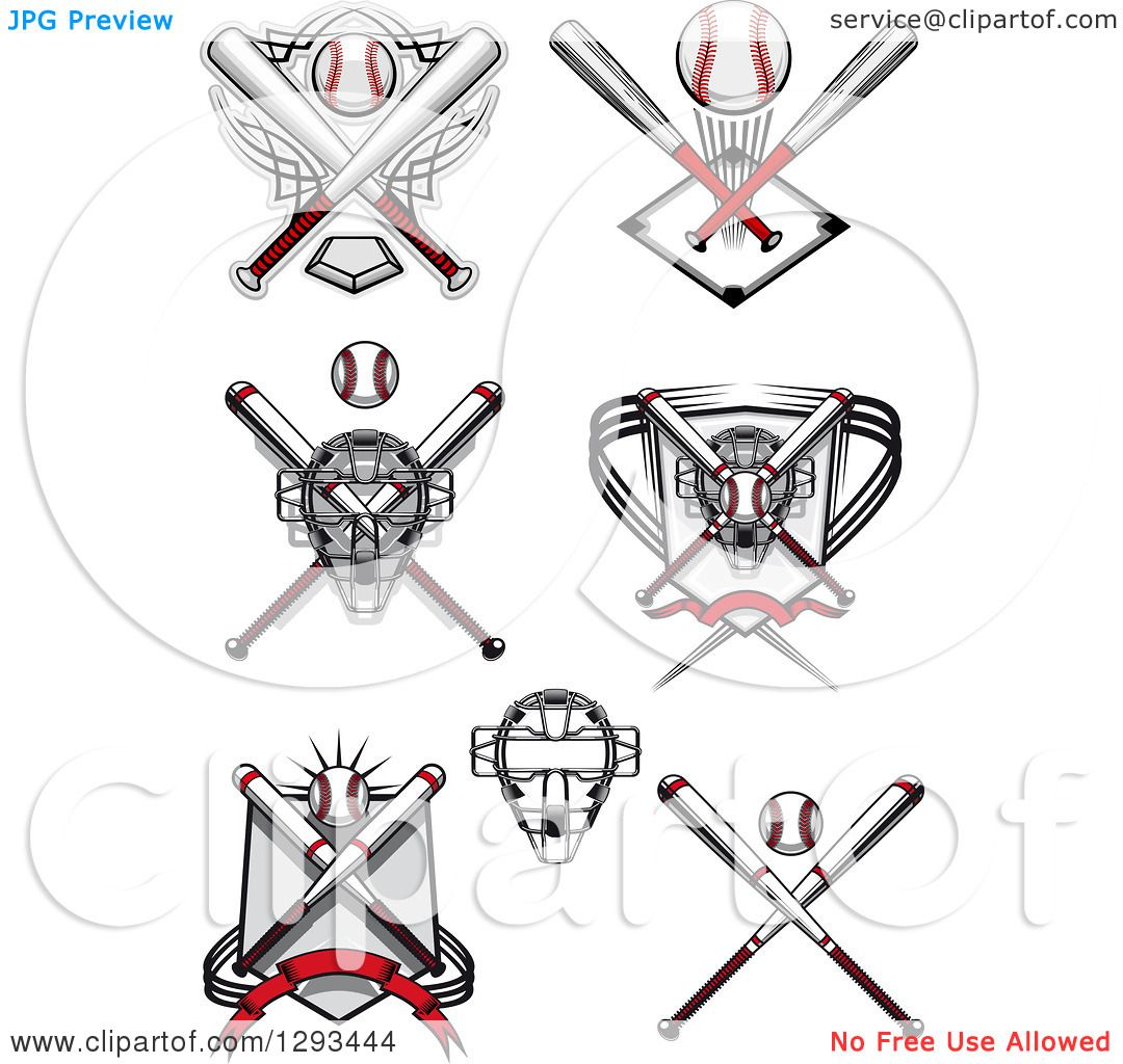 Clipart of Baseball, Crossed Bats and a Catchers Masks ...