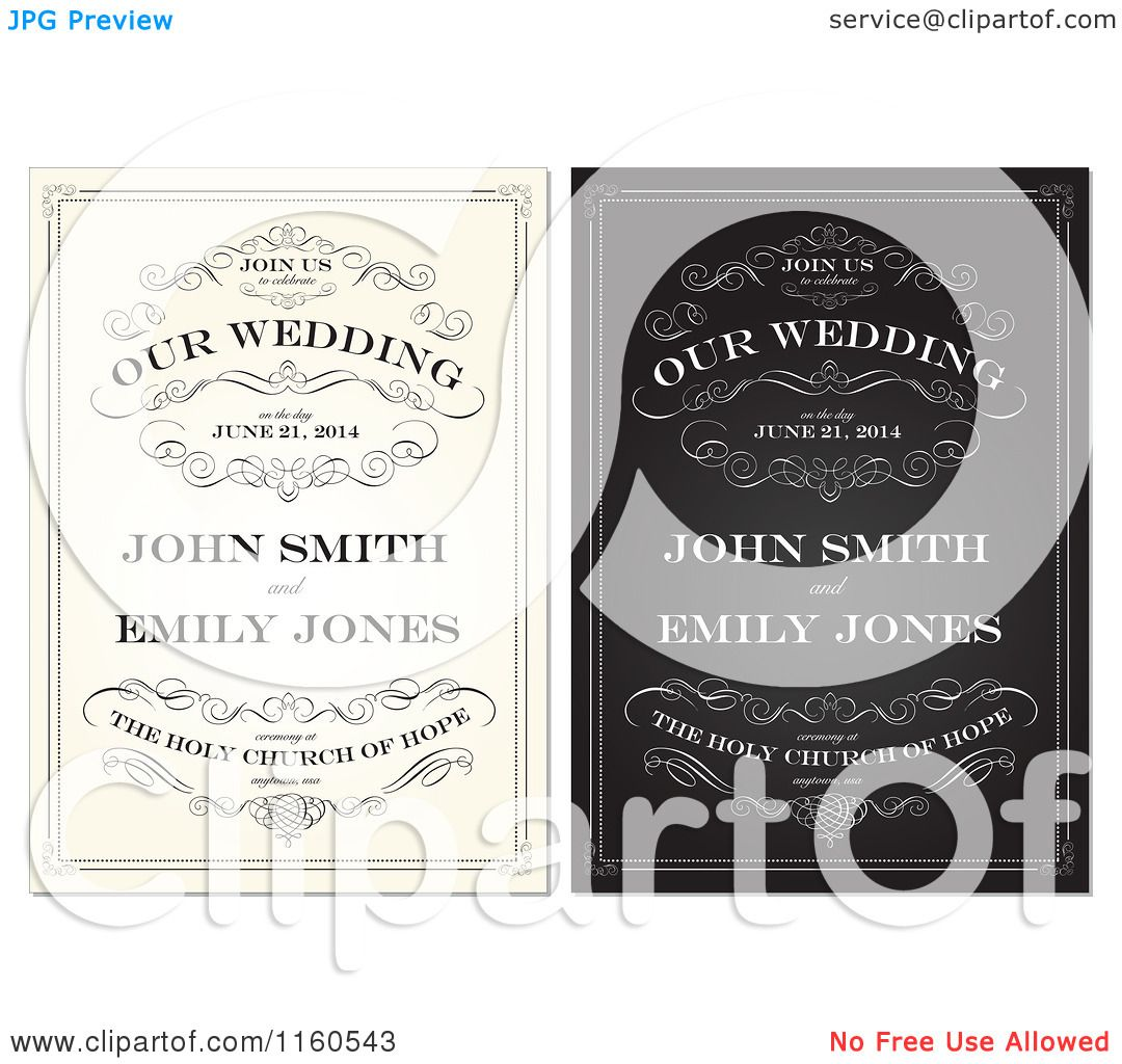 Clipart of Beige and Black and White Vintage Wedding Invitations ...