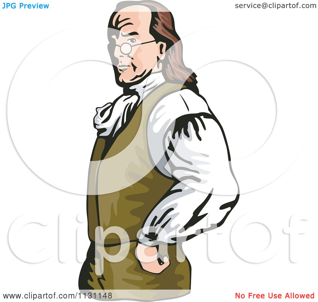 Clipart Of Benjamin Franklin With His Hands On His Hips - Royalty ...