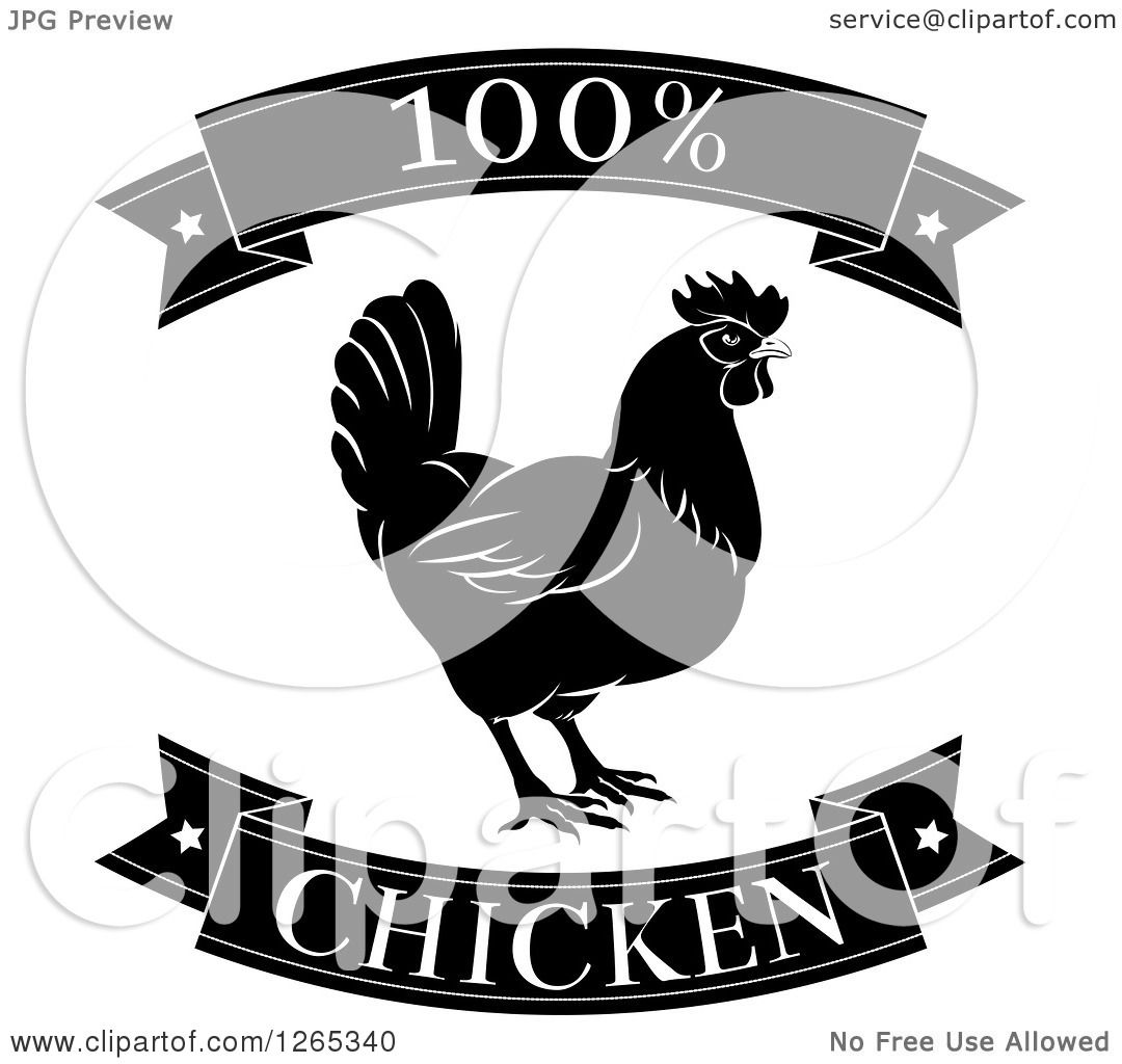Clipart of Black and White 100 Percent Chicken Food ...