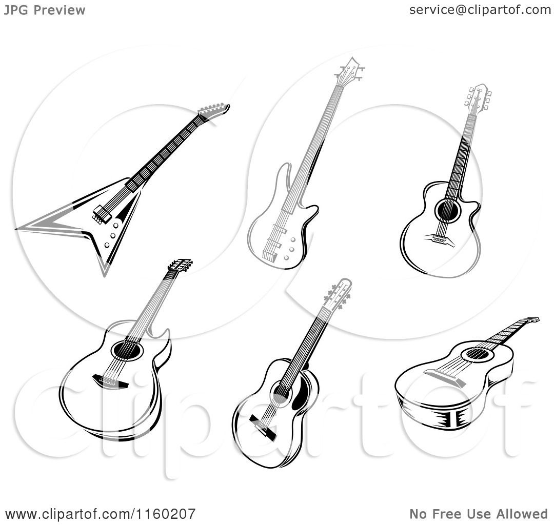 Acoustic And Electric Designs: Clipart Of Black And White Acoustic And Electric Guitars