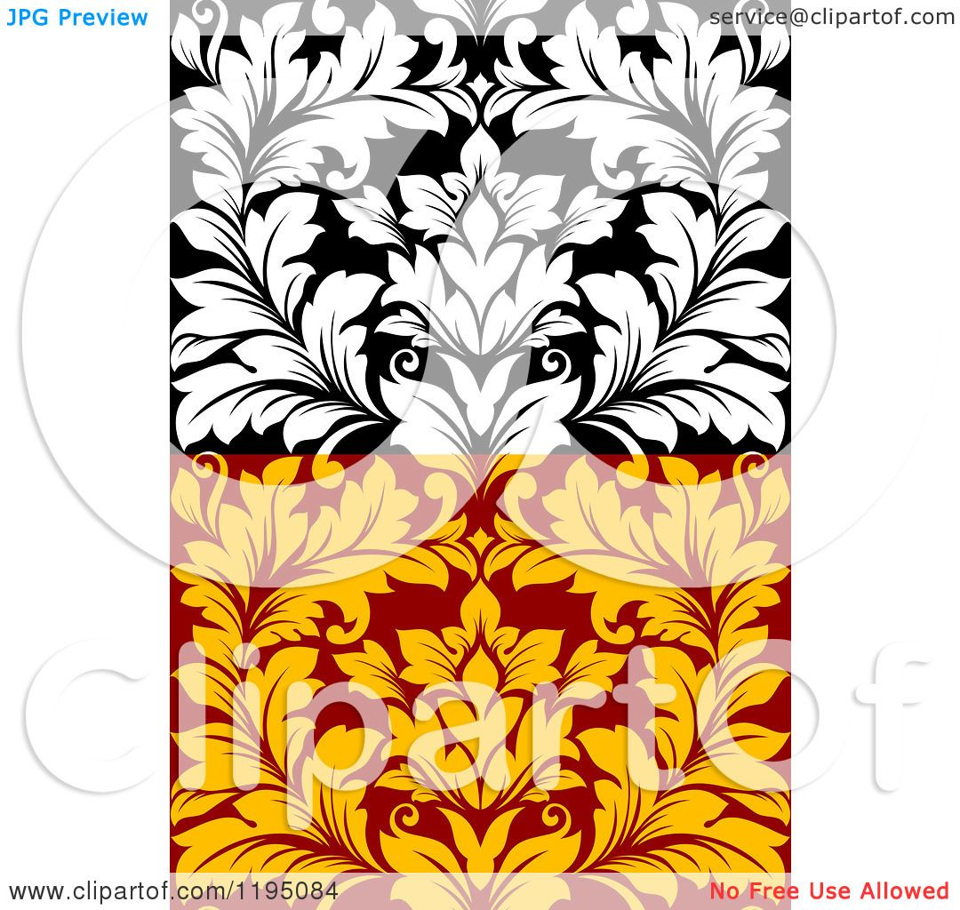 clipart of black and white and red and yellow seamless damask rh clipartof com free gold damask clipart