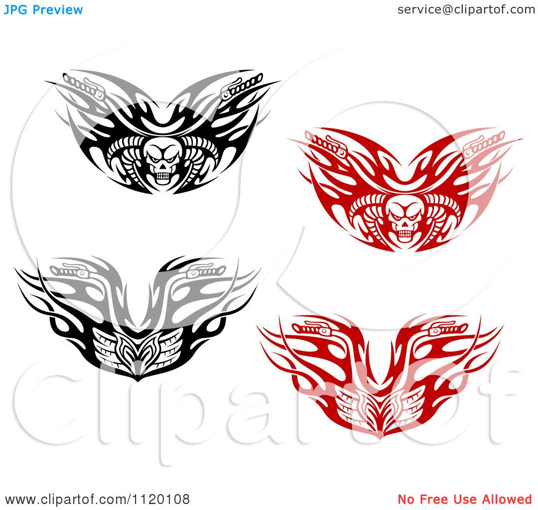 Motorcycle clip art with flames - Clipart Of Black And White And Red Tribal Flaming Skull Motorcycle Biker Handlebars Royalty Free Vector Illustration By Vector Tradition Sm