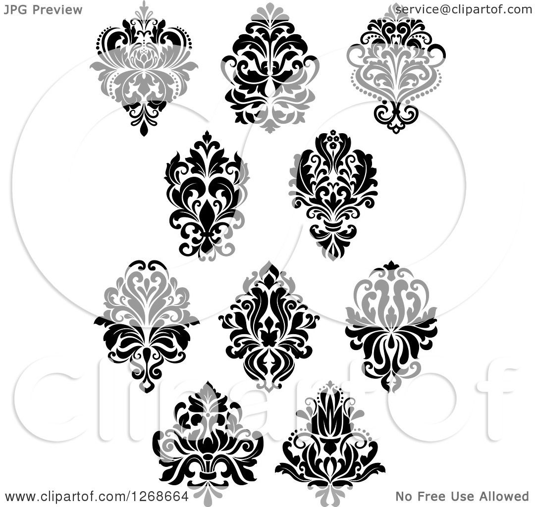 clipart of black and white arabesque damask designs 4 royalty free vector illustration by. Black Bedroom Furniture Sets. Home Design Ideas