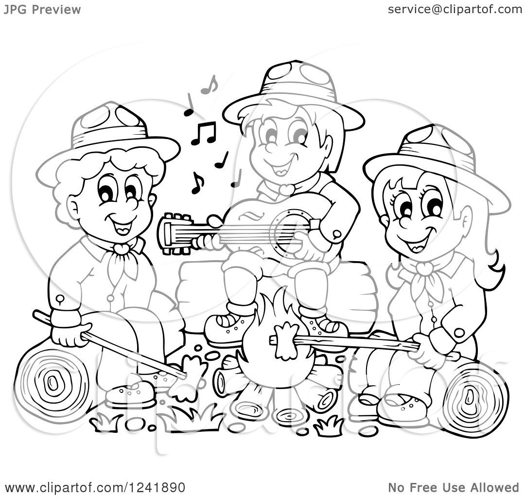clipart of black and white boy and girl scouts singing around a camp fire royalty free vector