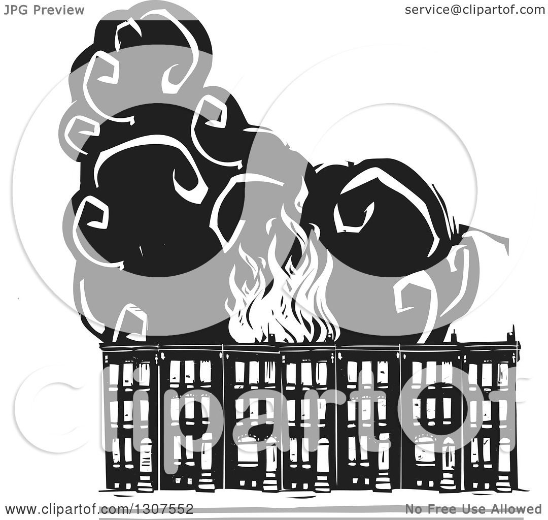 Clipart of black and white burning woodcut baltimore ghetto row clipart of black and white burning woodcut baltimore ghetto row house town homes royalty free vector illustration by xunantunich sciox Gallery