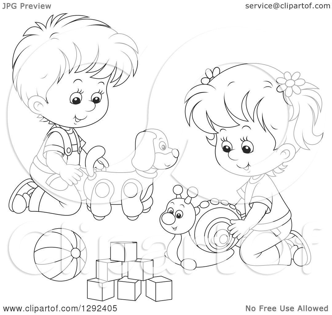 Clipart Of Black And White Children Playing With A Toy Dog Snail