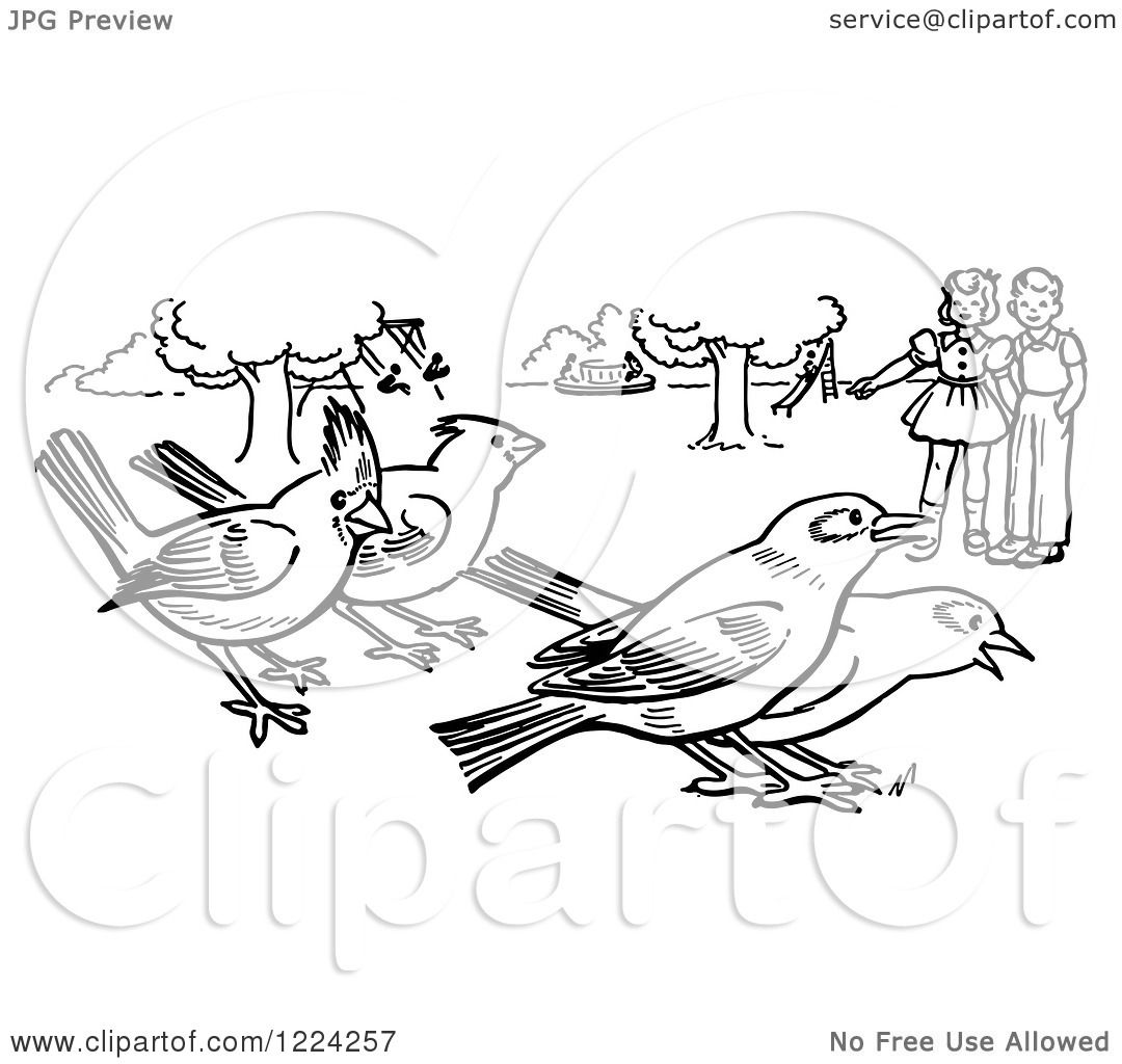 clipart of black and white children watching birds in a park