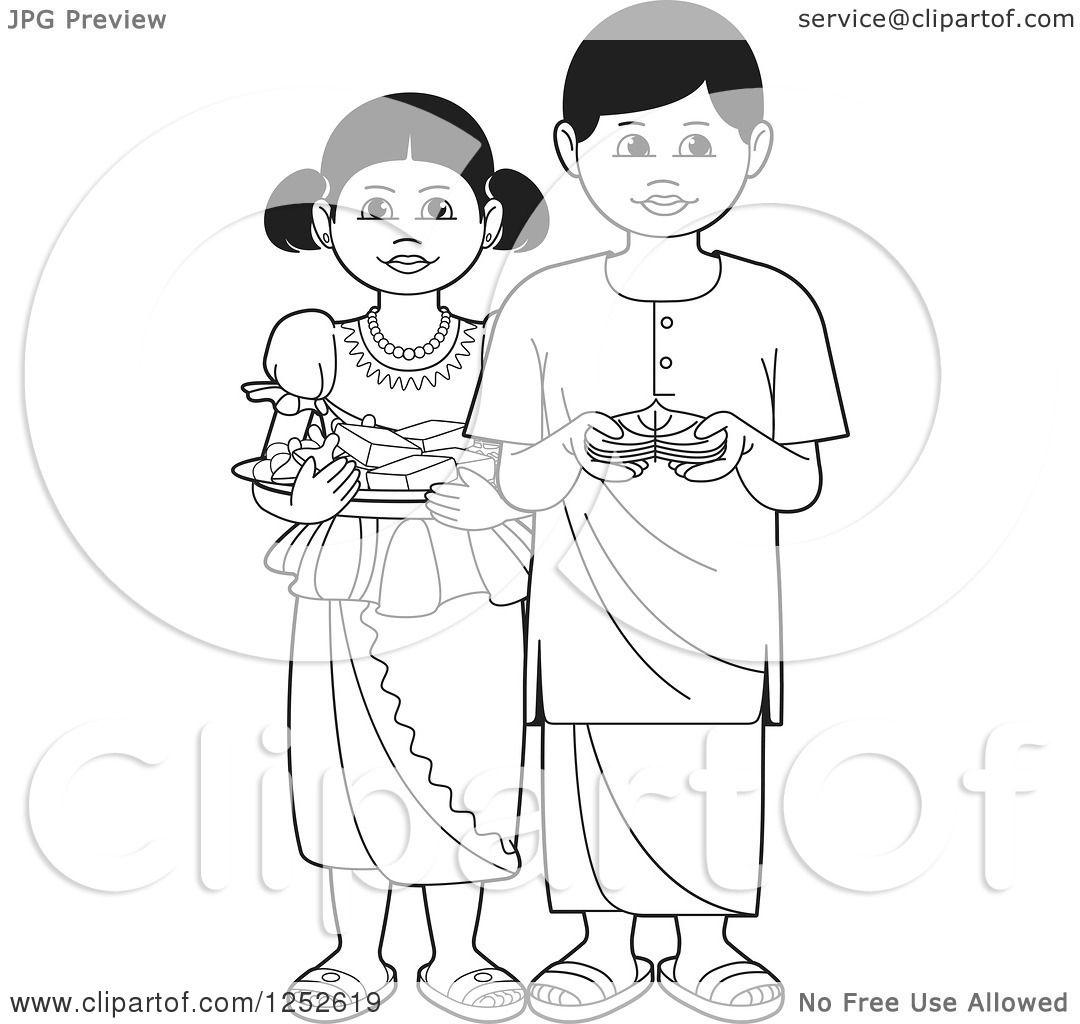 Clipart of Black and White Children