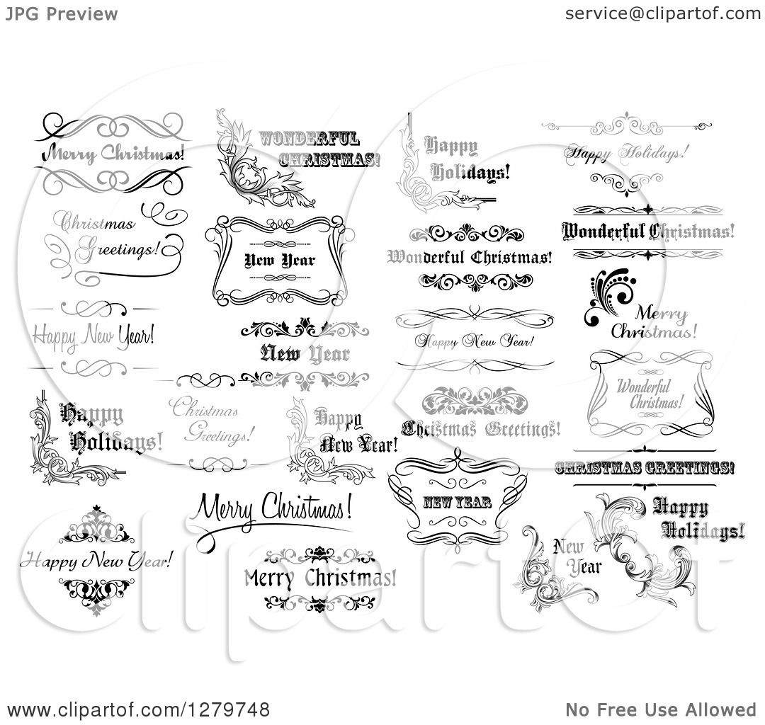 Clipart of Black and White Christmas and New Year Greetings 3 ...