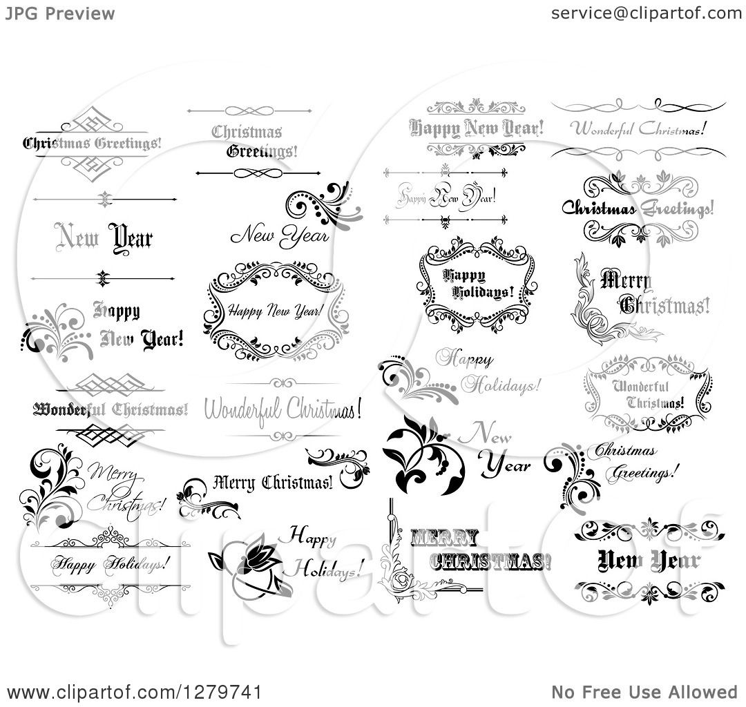 Clipart of Black and White Christmas and New Year Greetings ...
