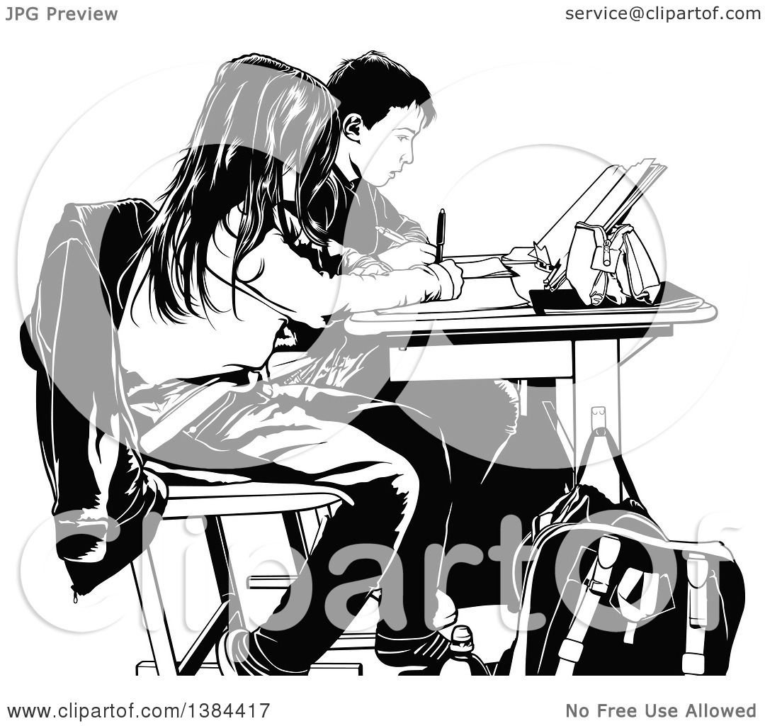 Clipart of Black and White Class