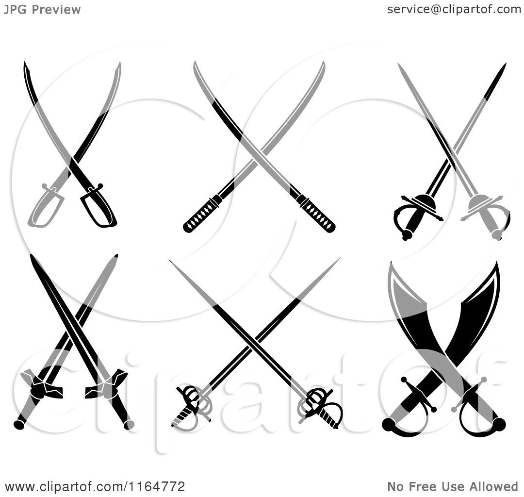 Clipart of black and white crossed swords 3 royalty free for Crossed swords tattoo