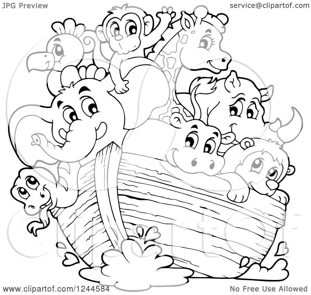 Clipart Of Black And White Cute Happy Animals On Noahs Ark