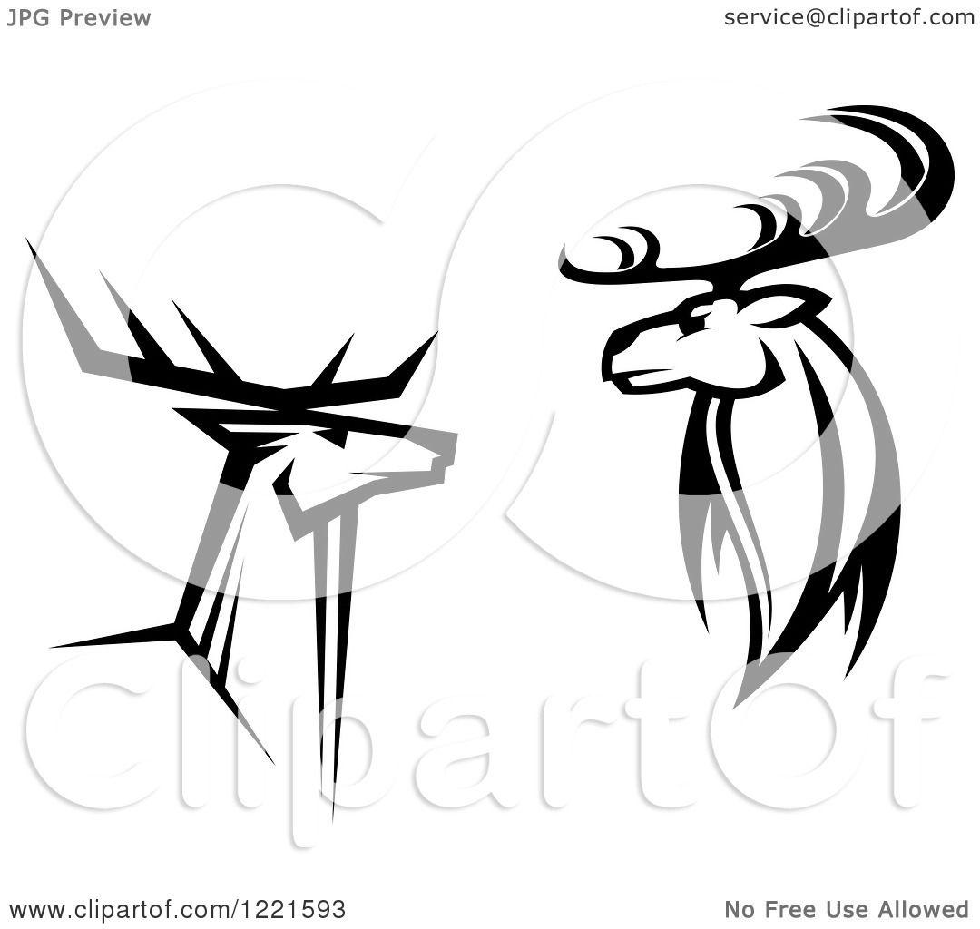Deer illustration black and white - photo#44