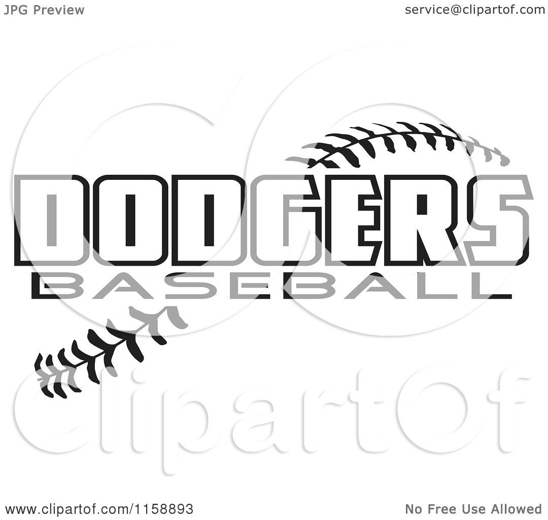 Clipart Of Black And White Dodgers Baseball Text Over