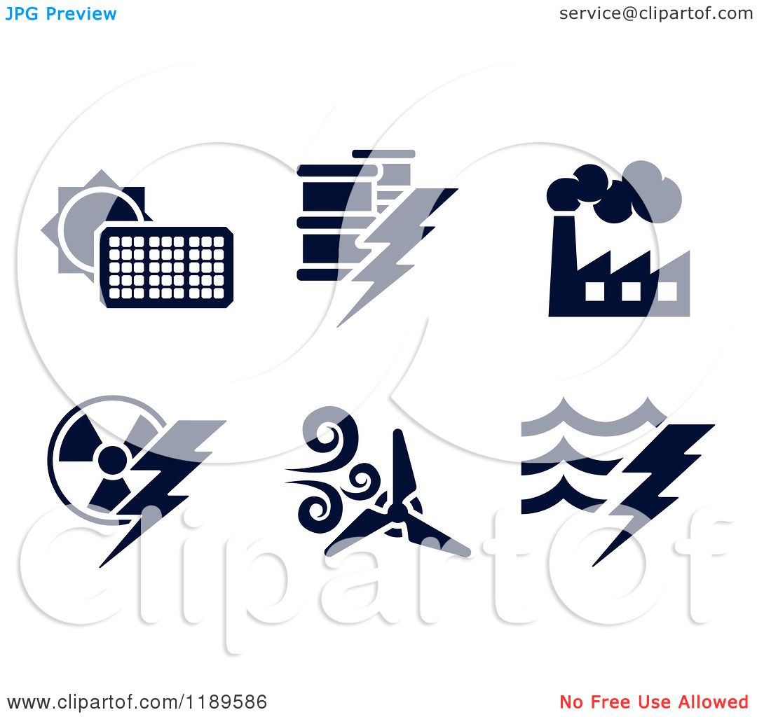 Clipart of Black and White Energy and Electricity Icons - Royalty ...