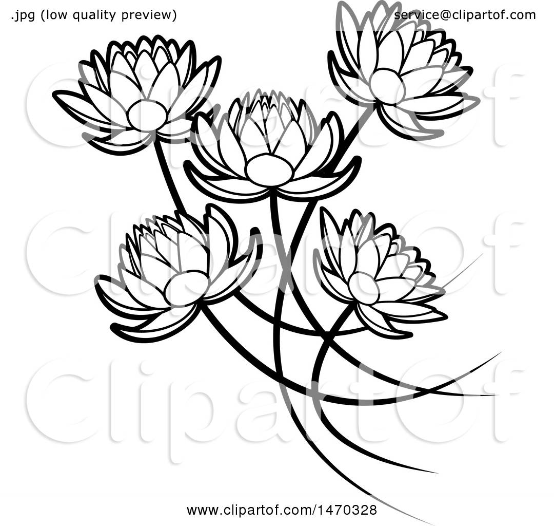 Clipart of Black and White Five Water Lily Lotus Flowers ...