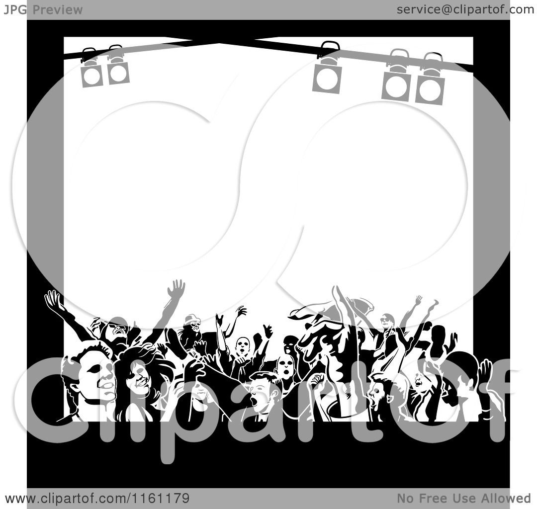 Clipart of Black and White Frame of Dancers and Stage ...