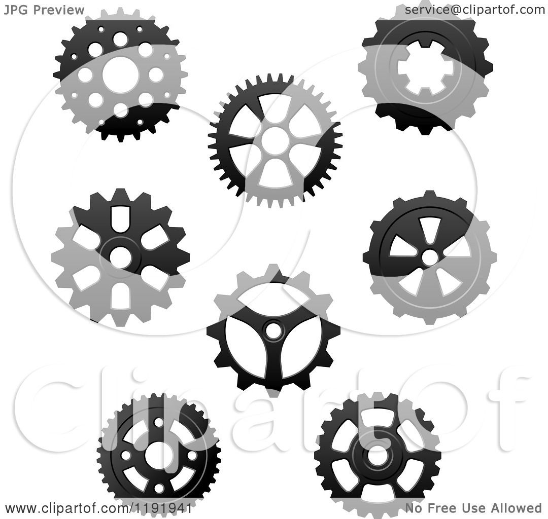 Clipart of Black and White Gear Cog Wheels 3 - Royalty ...