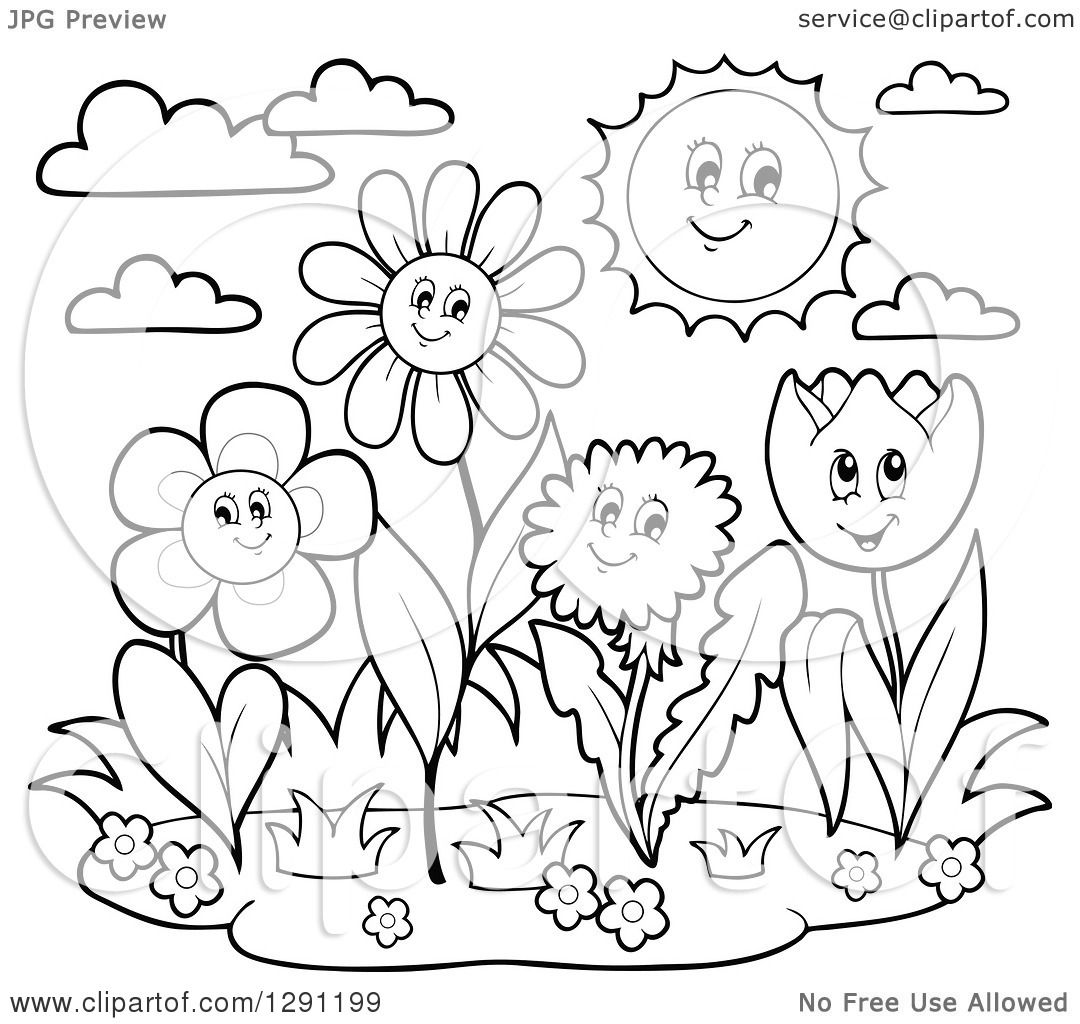 Clipart Of Black And White Group Of Happy Cartoon Flower Characters