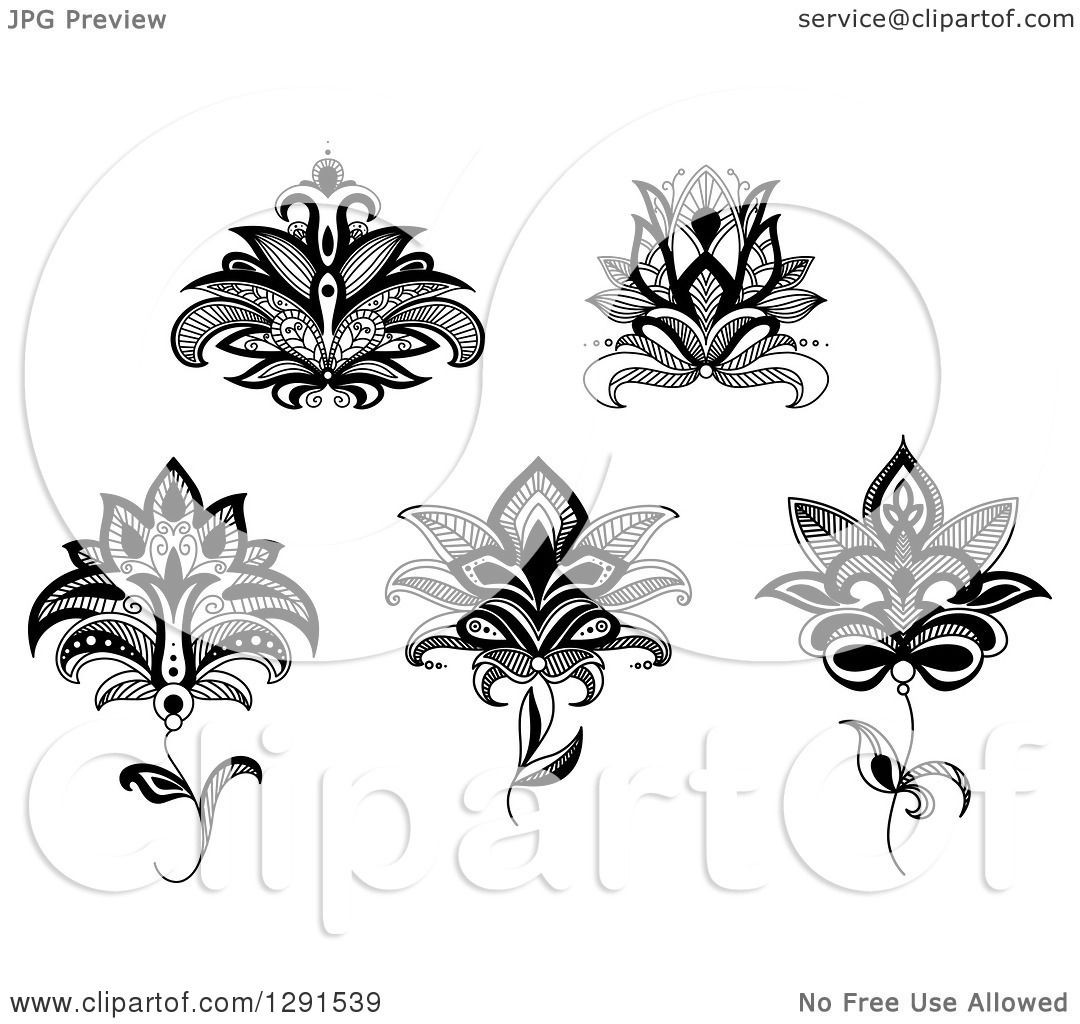 Clipart Of Black And White Henna Lotus And Flower Designs 2 Royalty Free Vector Illustration