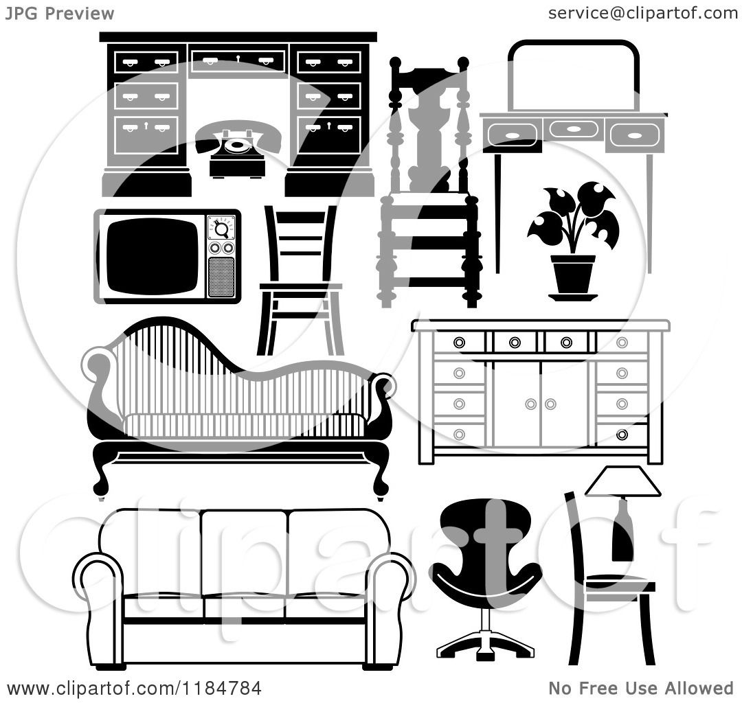 clipart of black and white household furniture pieces - royalty