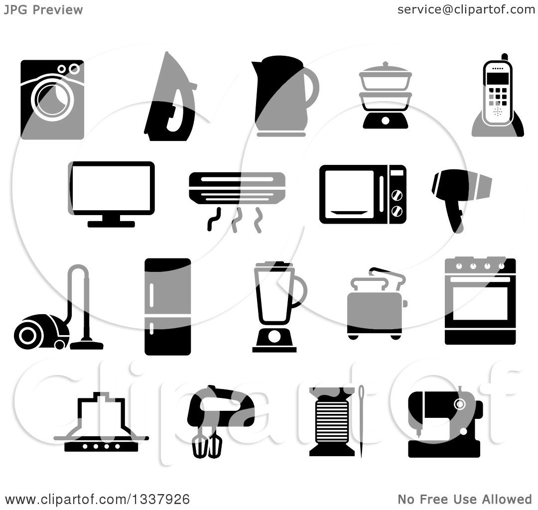 Clipart of Black and White Household Items - Royalty Free Vector ...