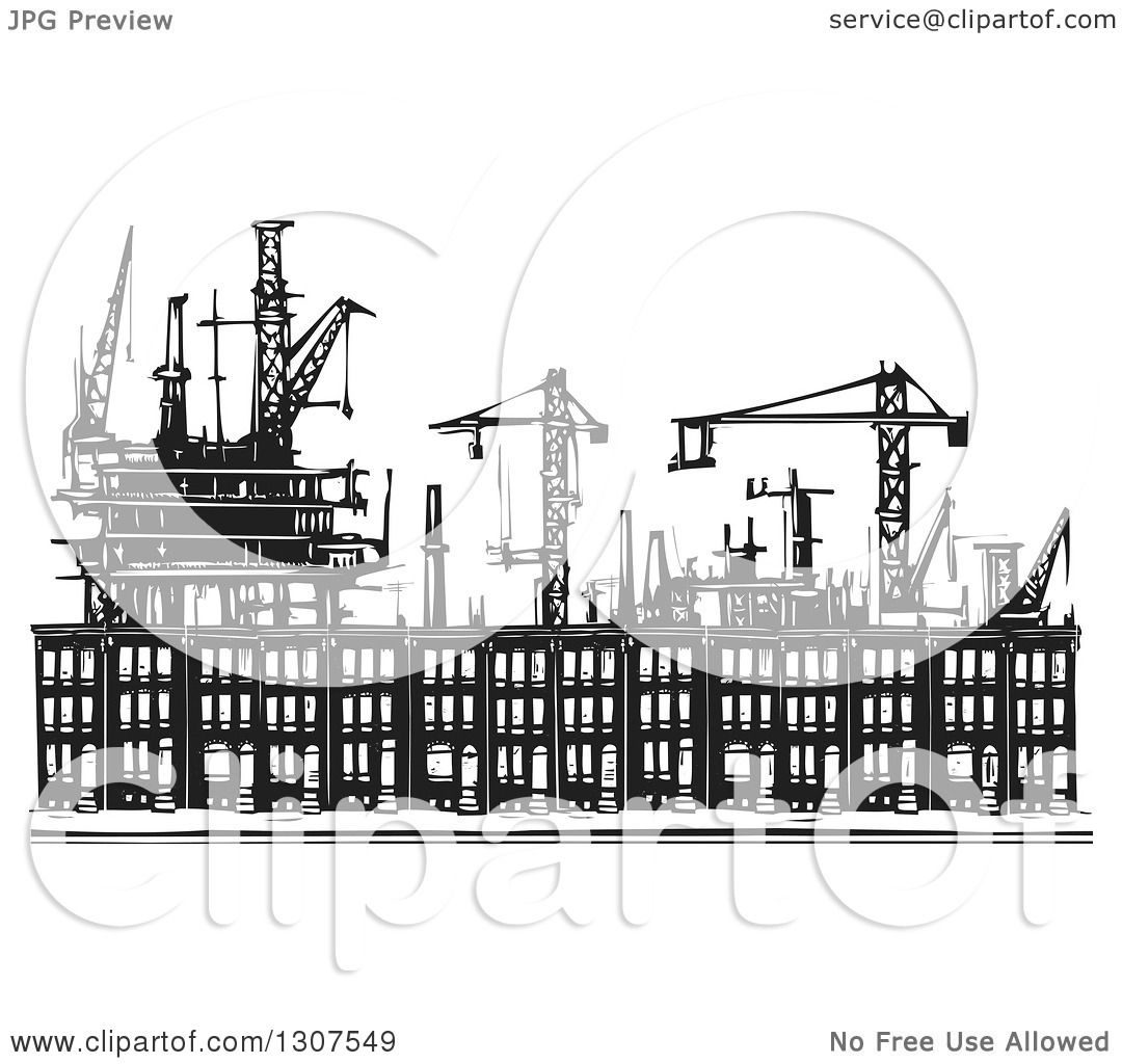 Clipart of black and white industrial equipment over woodcut clipart of black and white industrial equipment over woodcut baltimore ghetto row house town homes royalty free vector illustration by xunantunich sciox Gallery