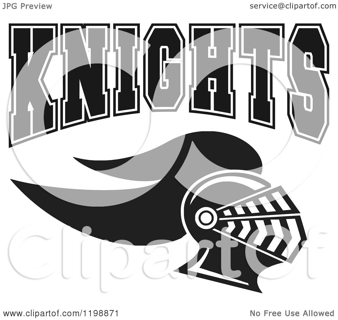 Clipart Of Black And White Knights Team Text Over A Helmet