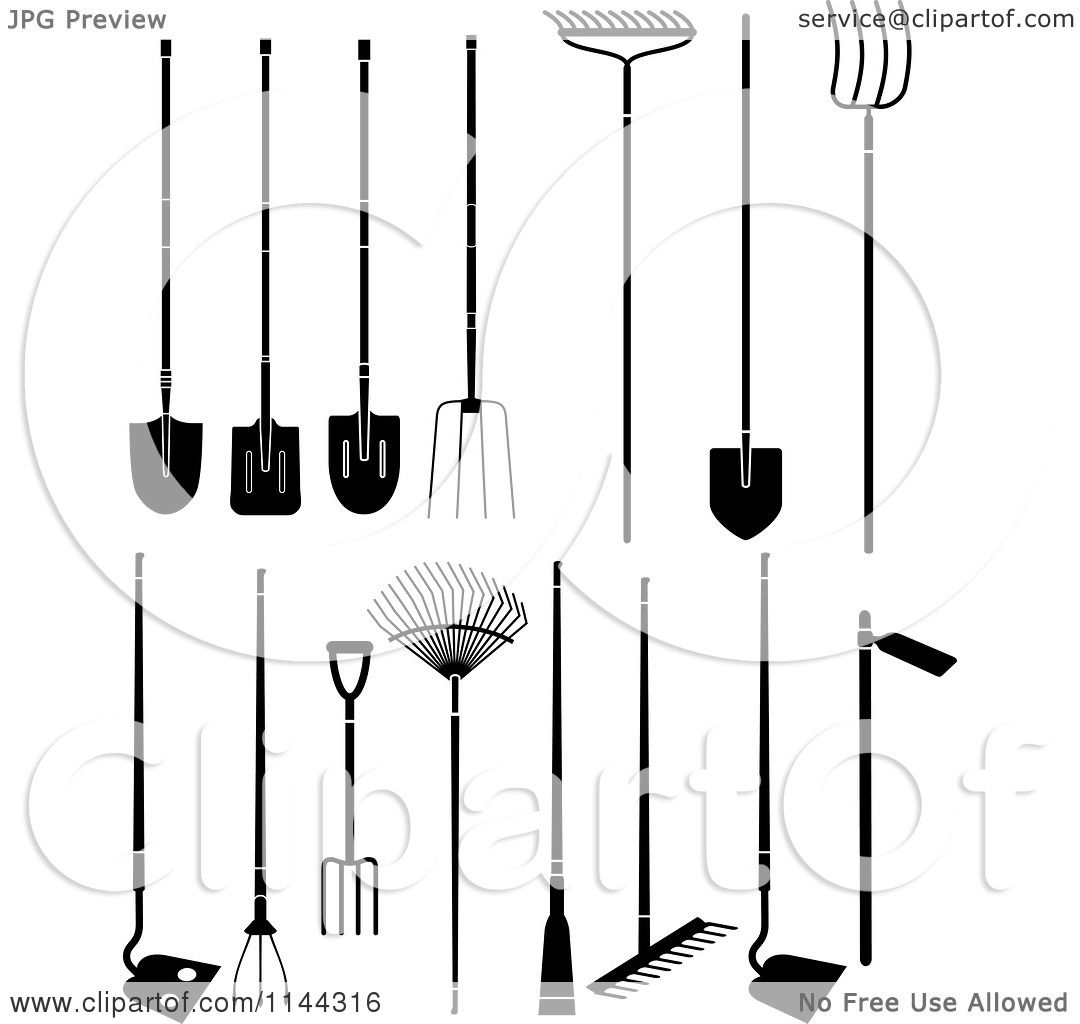 Clipart of black and white large garden tools royalty for Large garden equipment