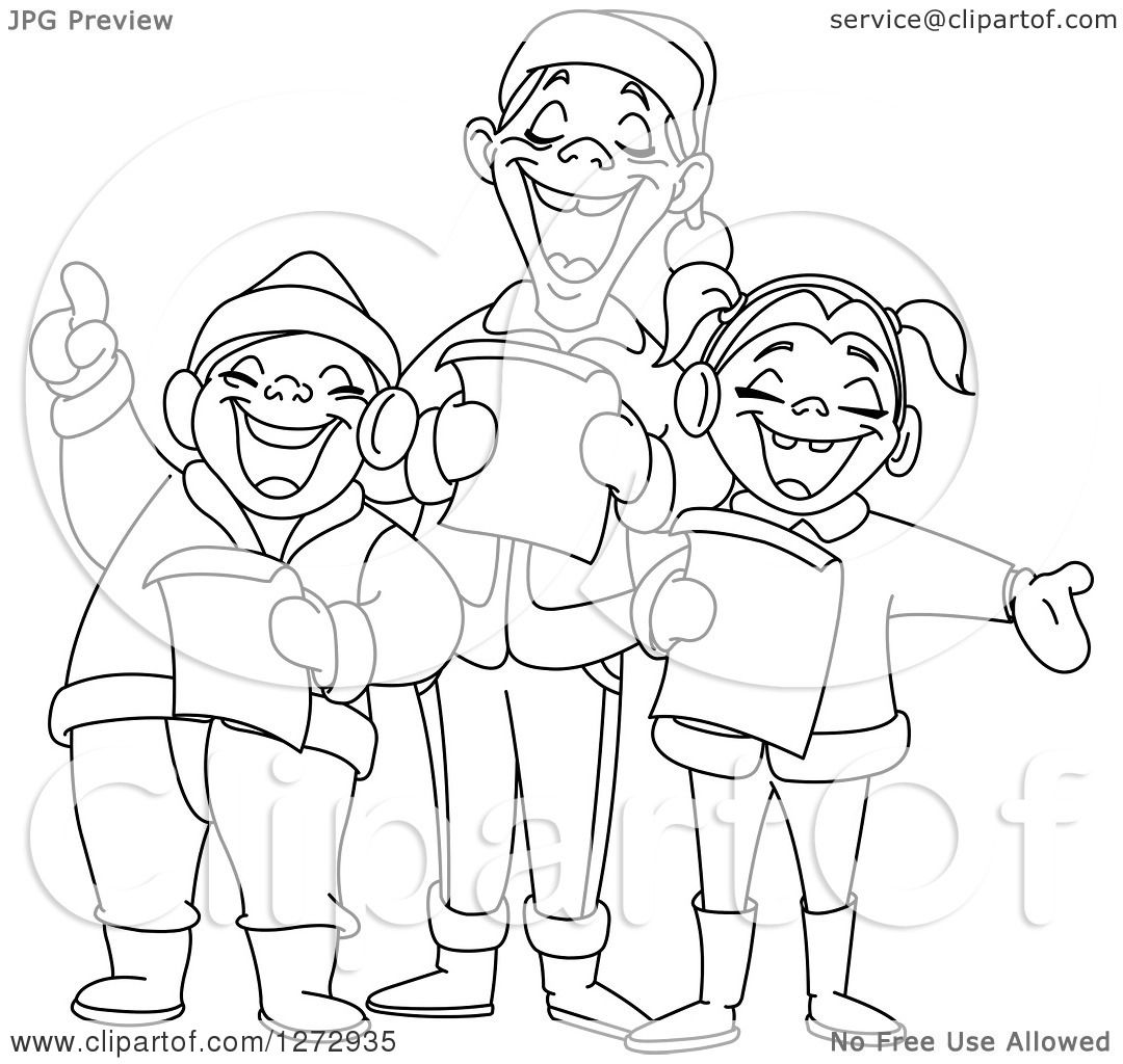 Line Art Royalty Free : Clipart of black and white line art family singing