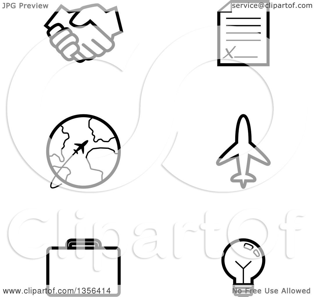 Clipart of Black and White Lineart Business and Travel ...