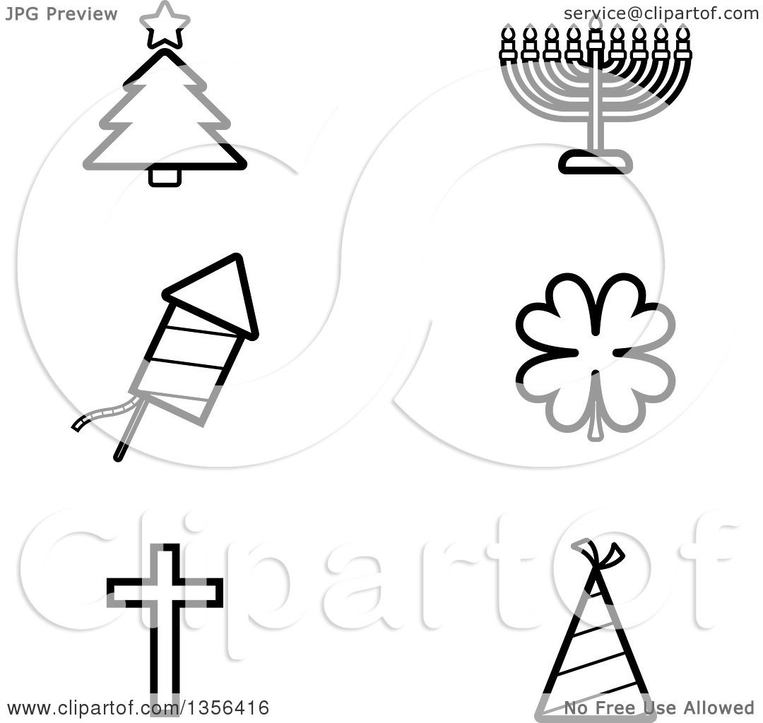 Christmas In July Clipart Black And White.Clipart Of Black And White Lineart Christmas Hanukkah