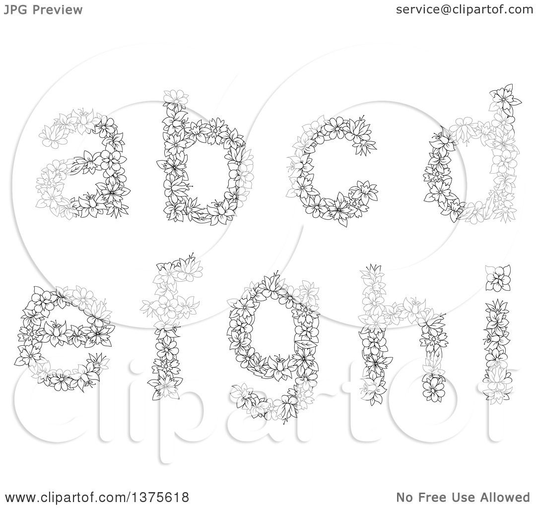 Clipart Of Black And White Lineart Floral Lowercase