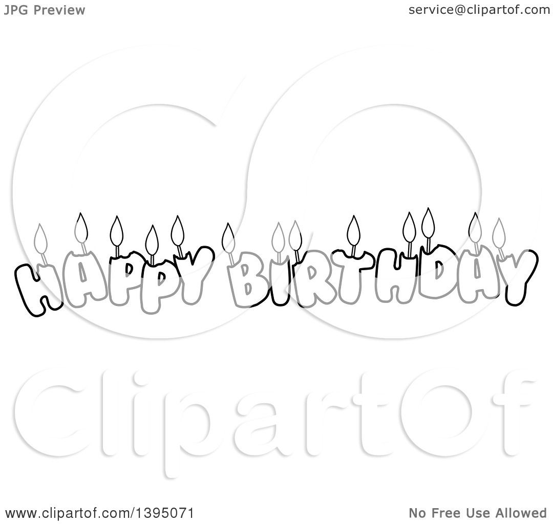 Clipart Of Black And White Lineart Happy Birthday Candle Letters