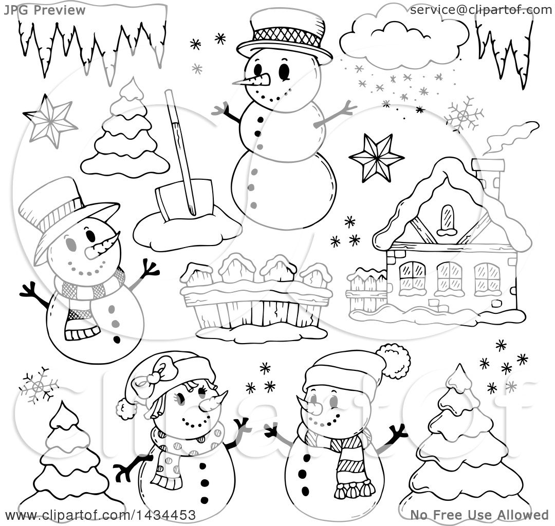 Clipart of Black and White Lineart Snowmen and Christmas ...