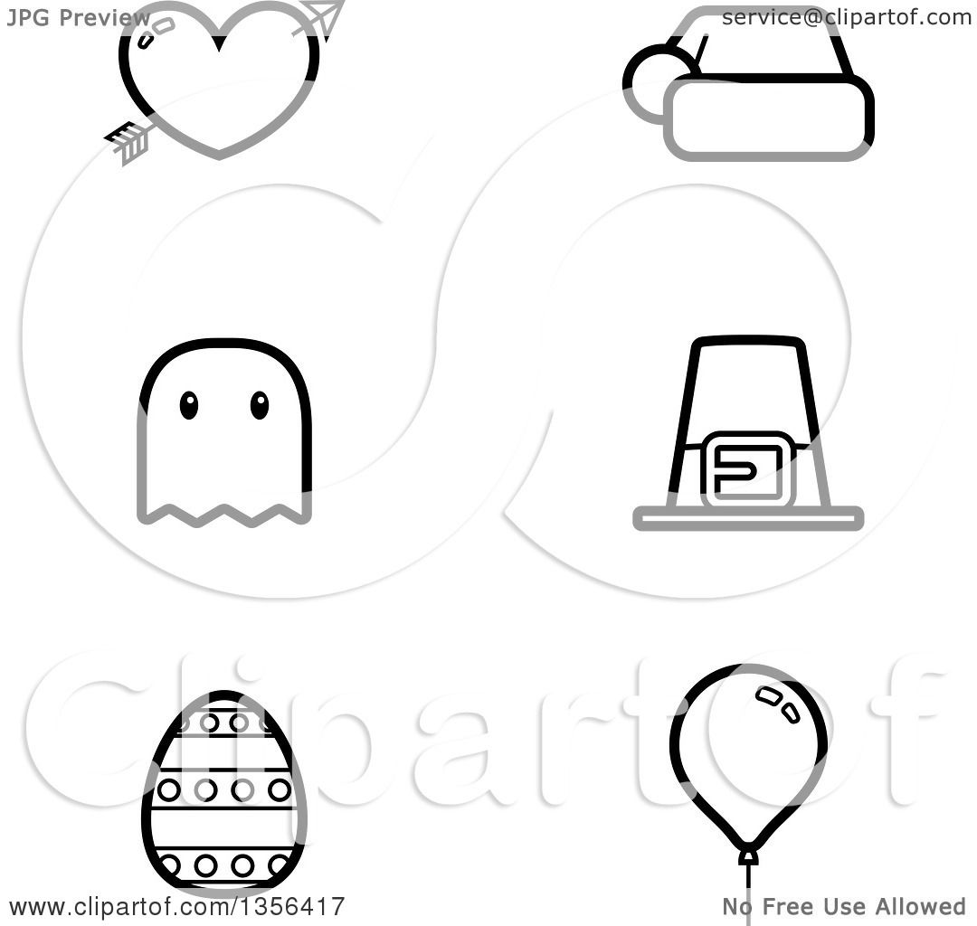 Halloween Thanksgiving Christmas Clipart.Clipart Of Black And White Lineart Valentine Christmas