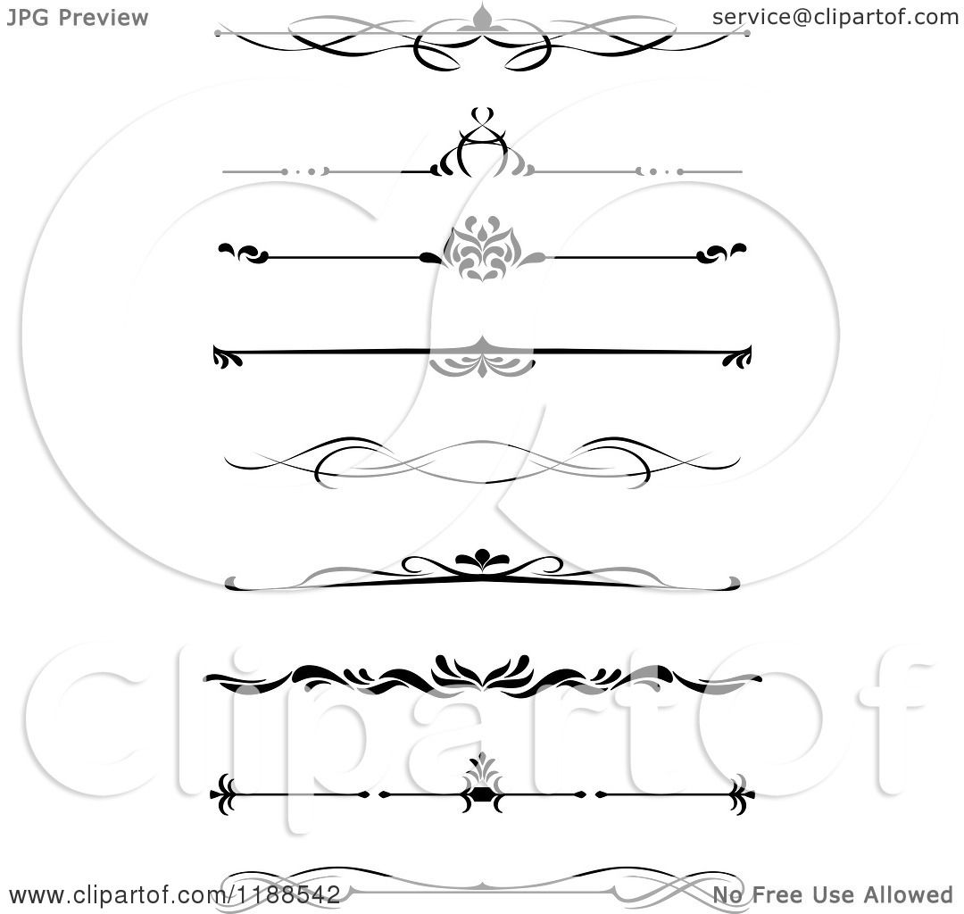 Clipart of Black and White Medieval Book Rules or Borders ...
