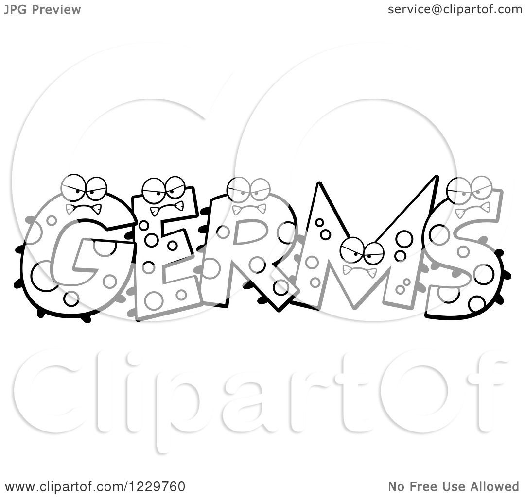 germs coloring pages - clipart of black and white monsters forming the word germs